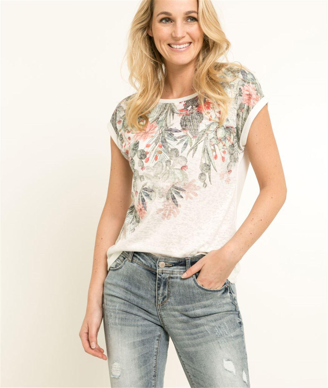 T-shirt femme imprimé floral ECRU