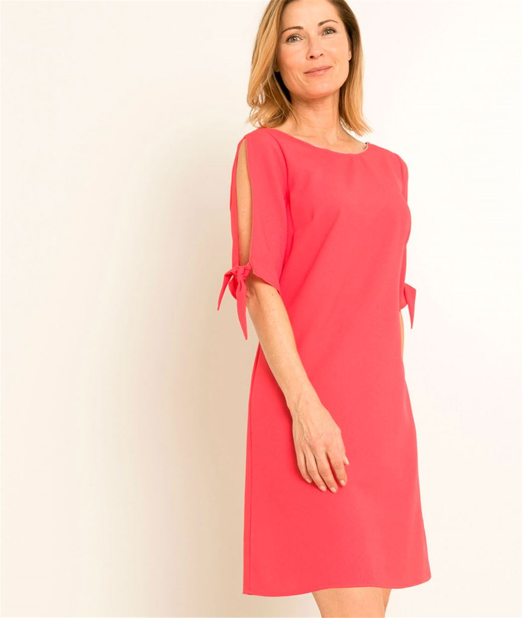 Robe femme unie manches ouvertes ROSE