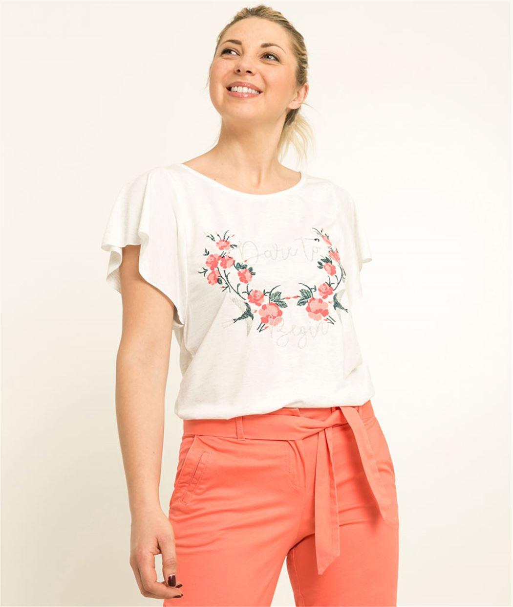 T-shirt femme broderie fleurs ECRU