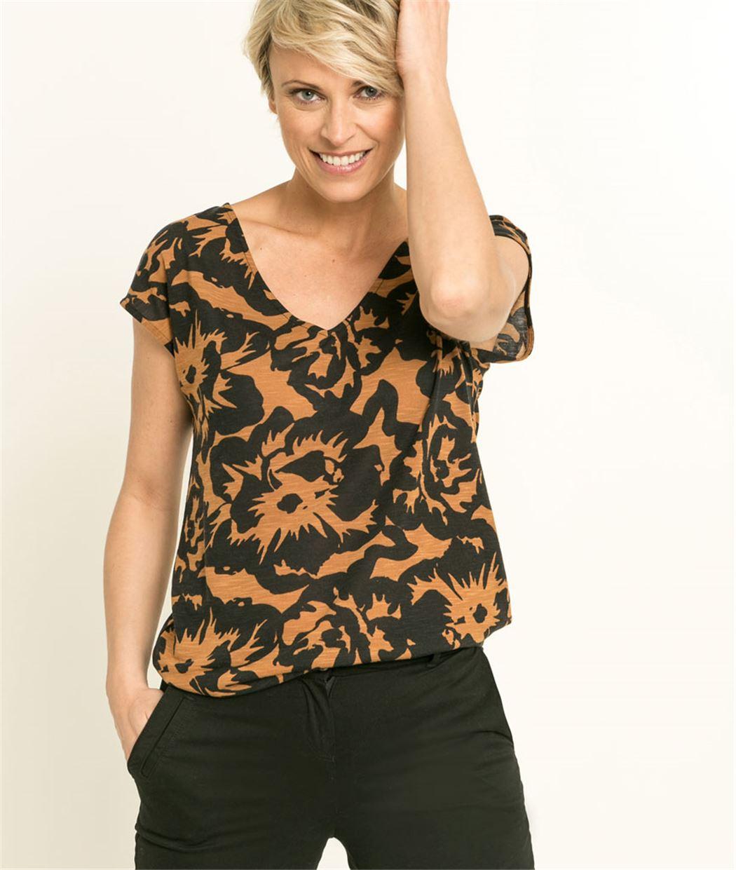 T-shirt femme manches courtes dos V DAIM FONCE