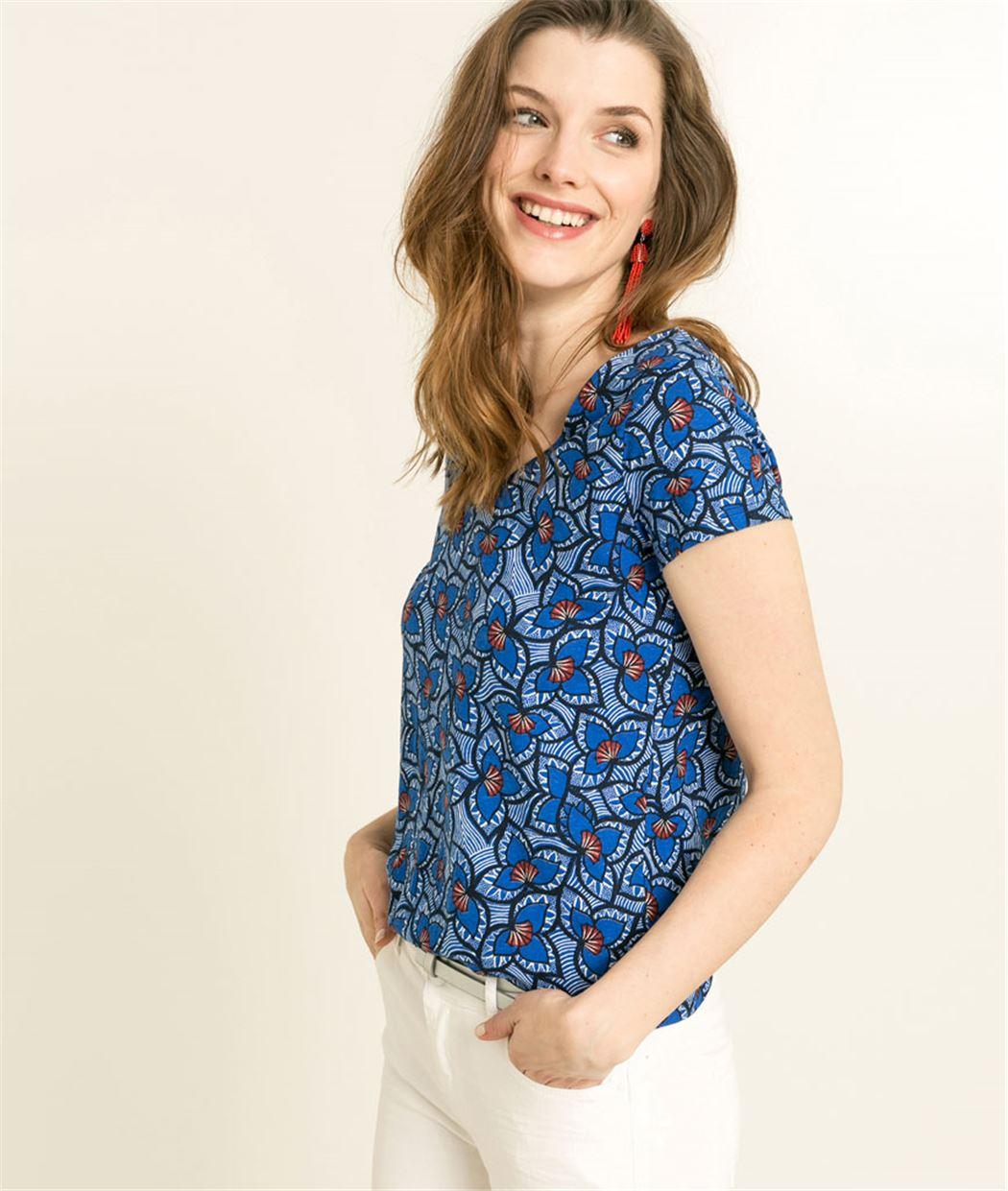 T-shirt femme imprimé dos en V BLEU