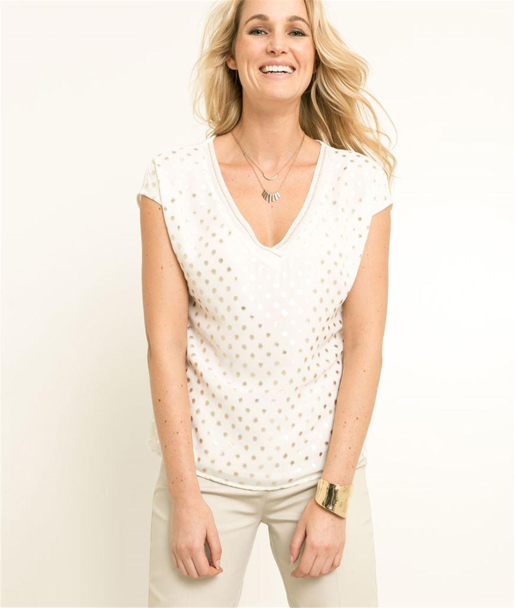 T-shirt femme motifs pois dorés ECRU