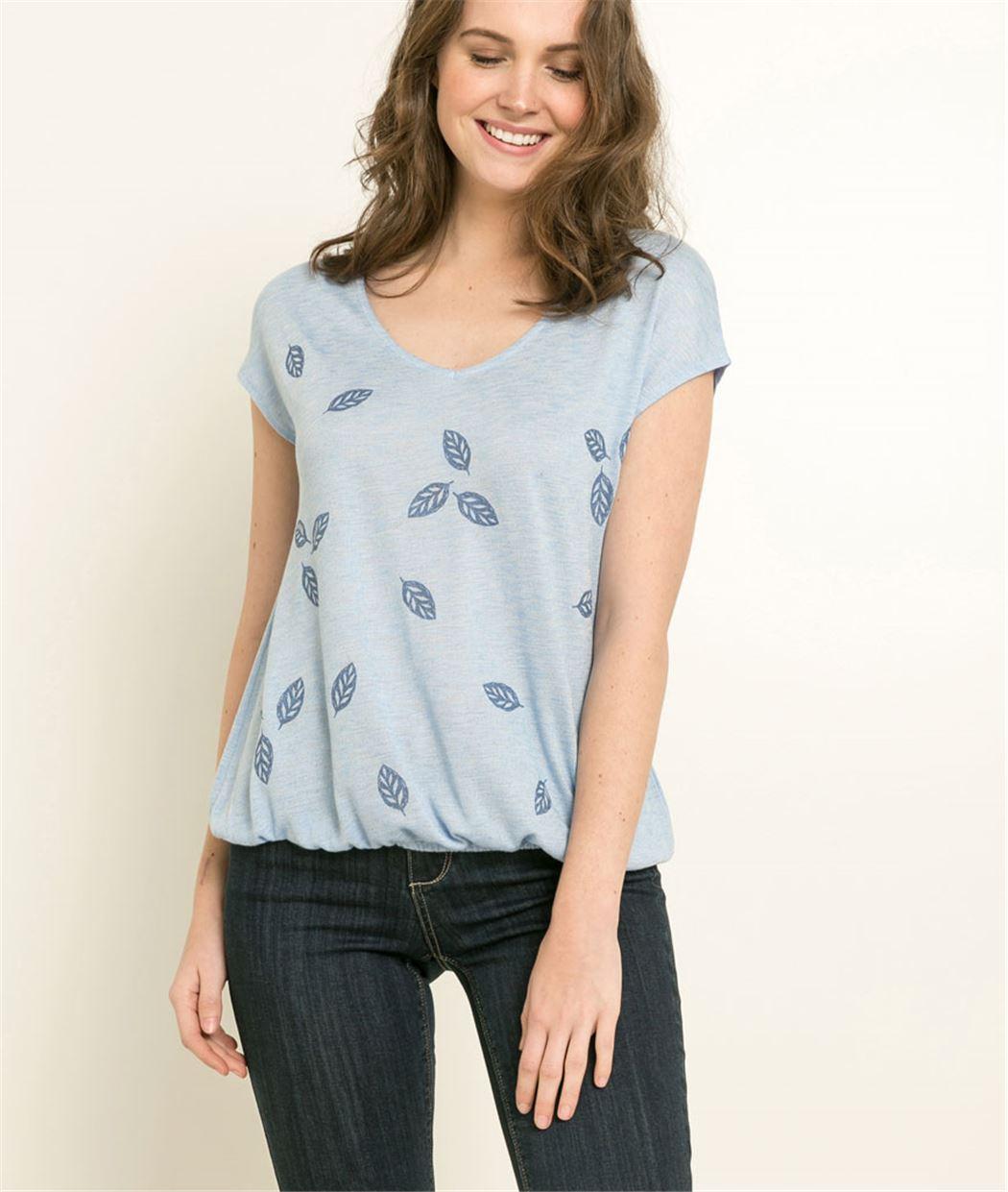 T-shirt femme imprimé motifs feuilles BLEU