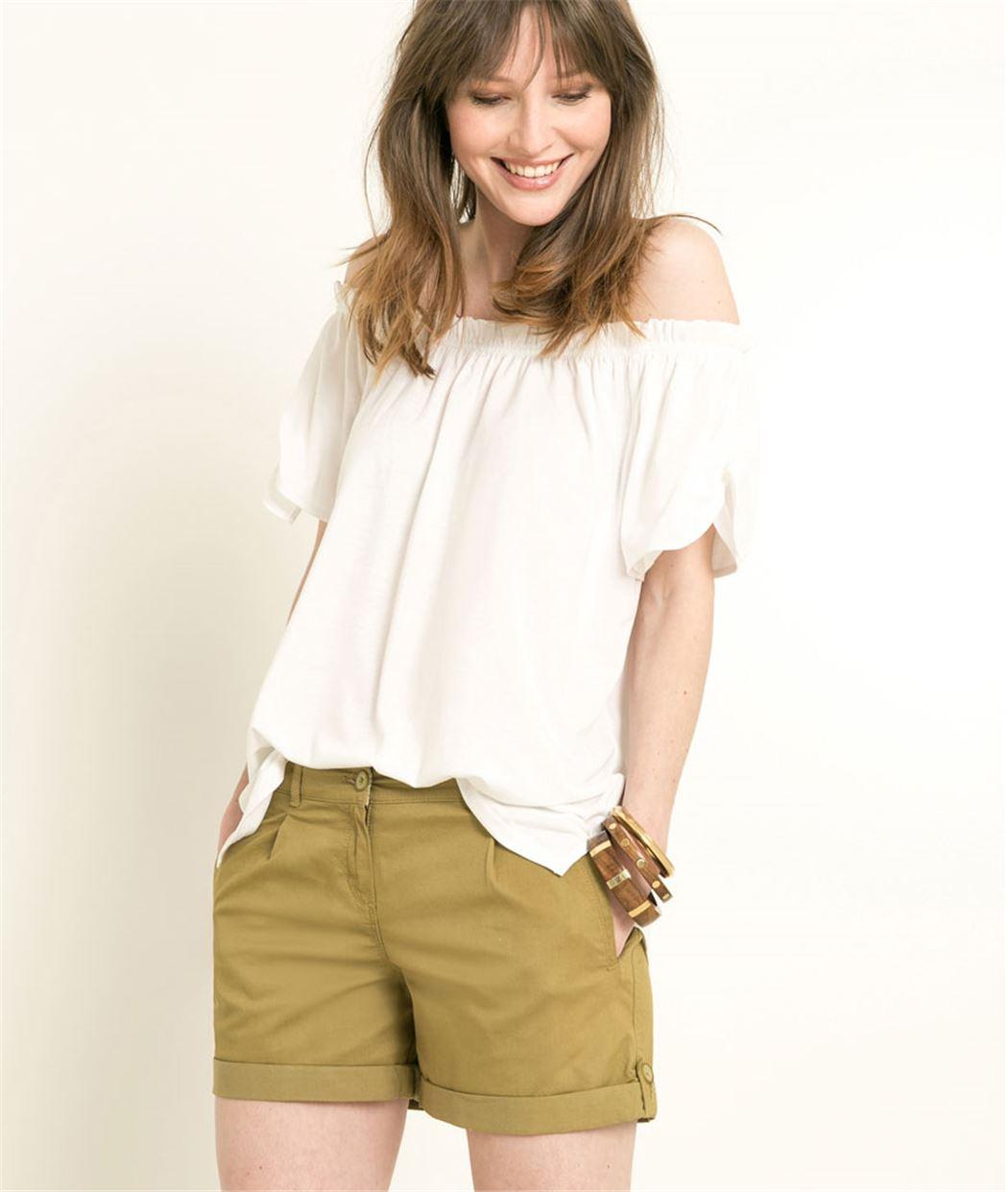 T-shirt femme encolure Bardot BLANC