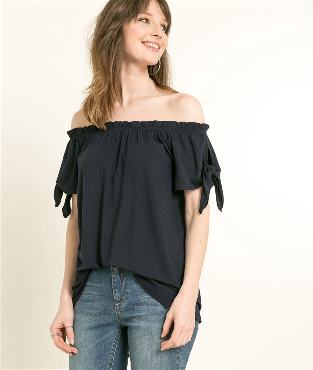 T-shirt femme encolure Bardot MARINE