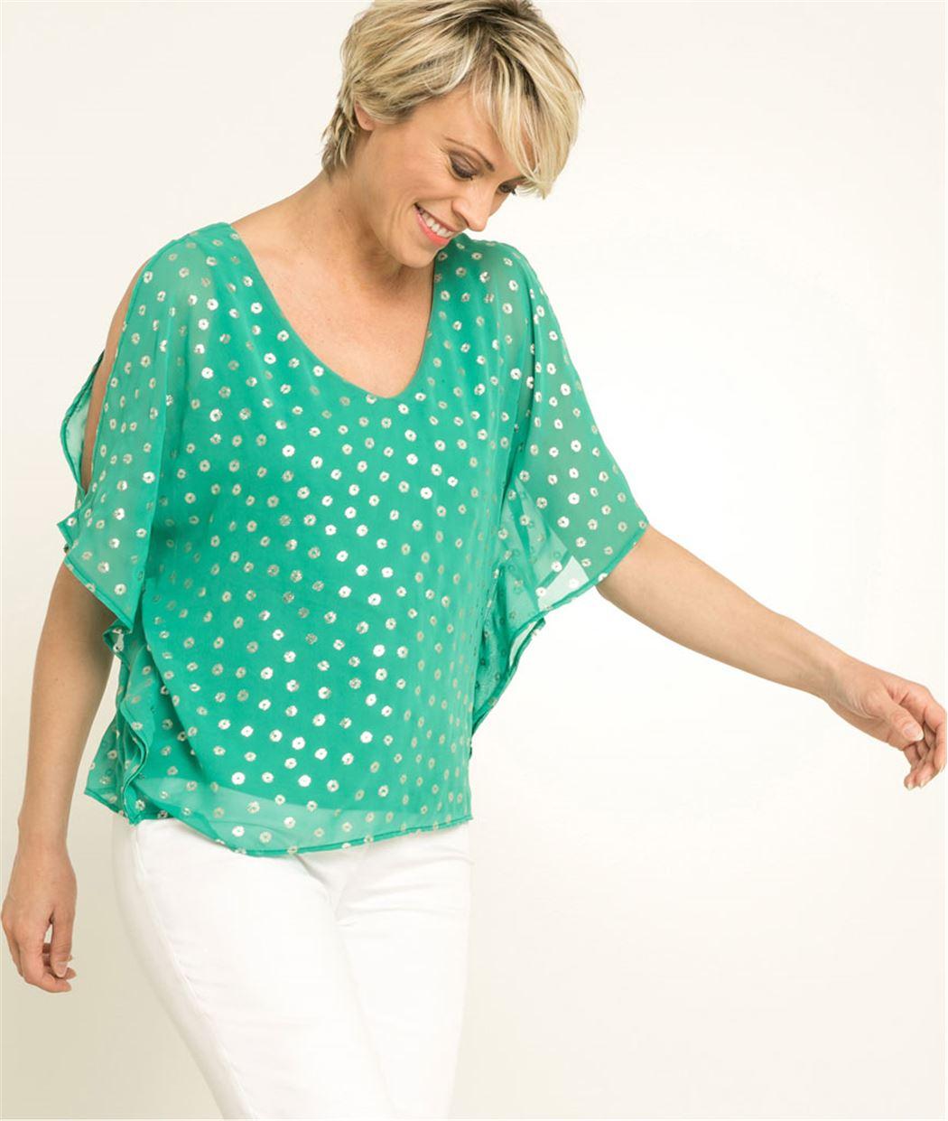T-shirt femme imprimé et voilage VERT