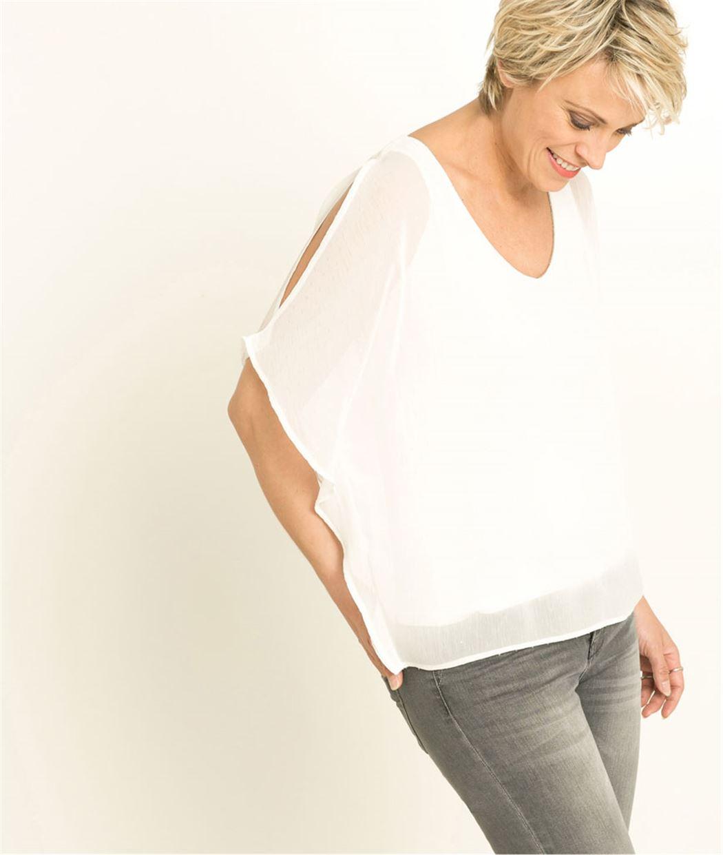 T-shirt femme voile plumetis ECRU