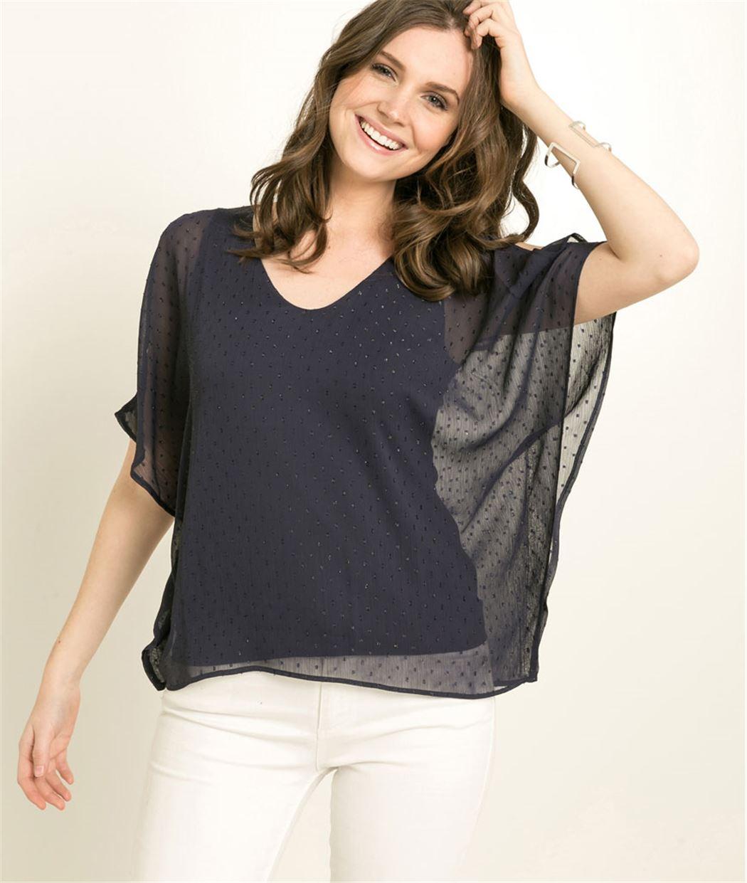 T-shirt femme voile plumetis MARINE