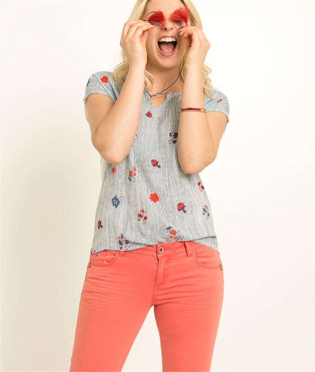 T-shirt femme rayures et fleurs BLEU