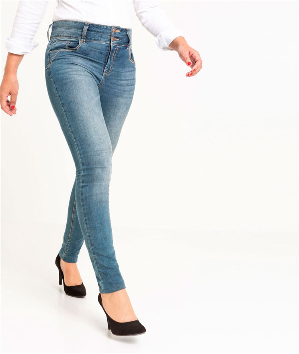 Jean femme slim taille haute push up STONE