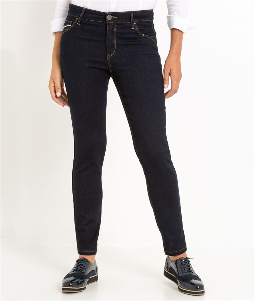 Pantalon raccourci femme denim stretch BLUE BLACK