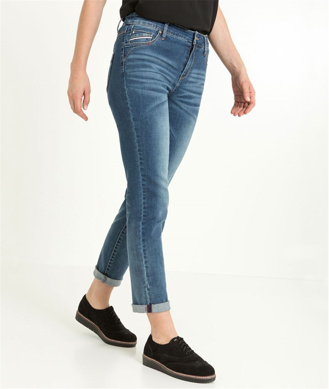 Pantalon raccourci femme denim stretch STONE