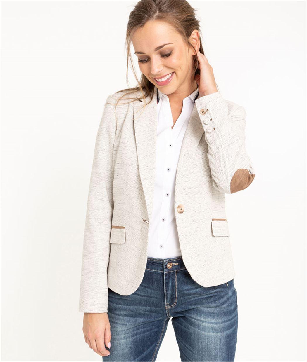Veste blazer femme en coton BEIGE