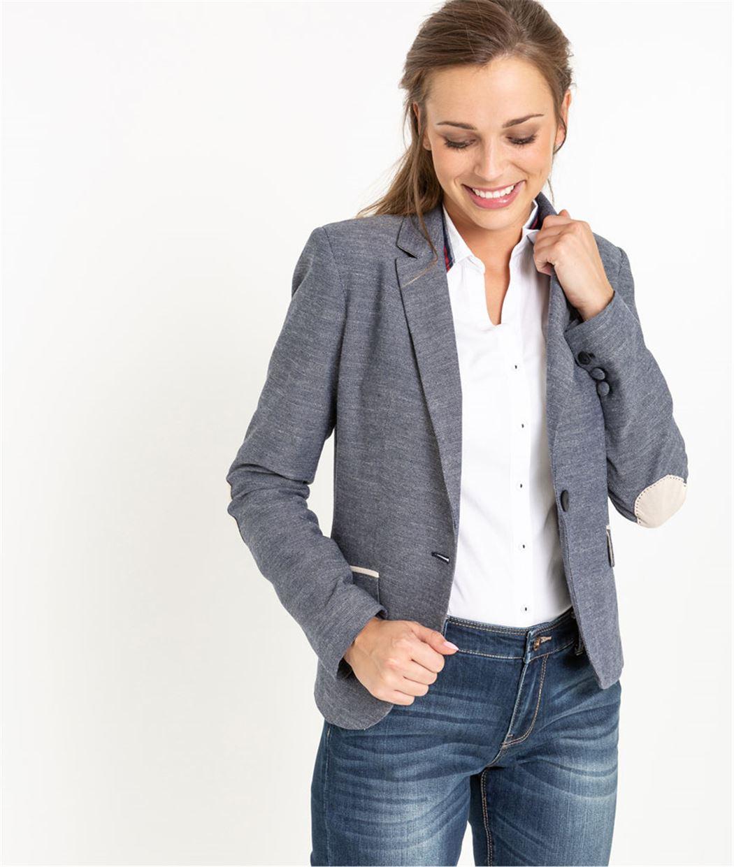 Veste blazer femme en coton MARINE