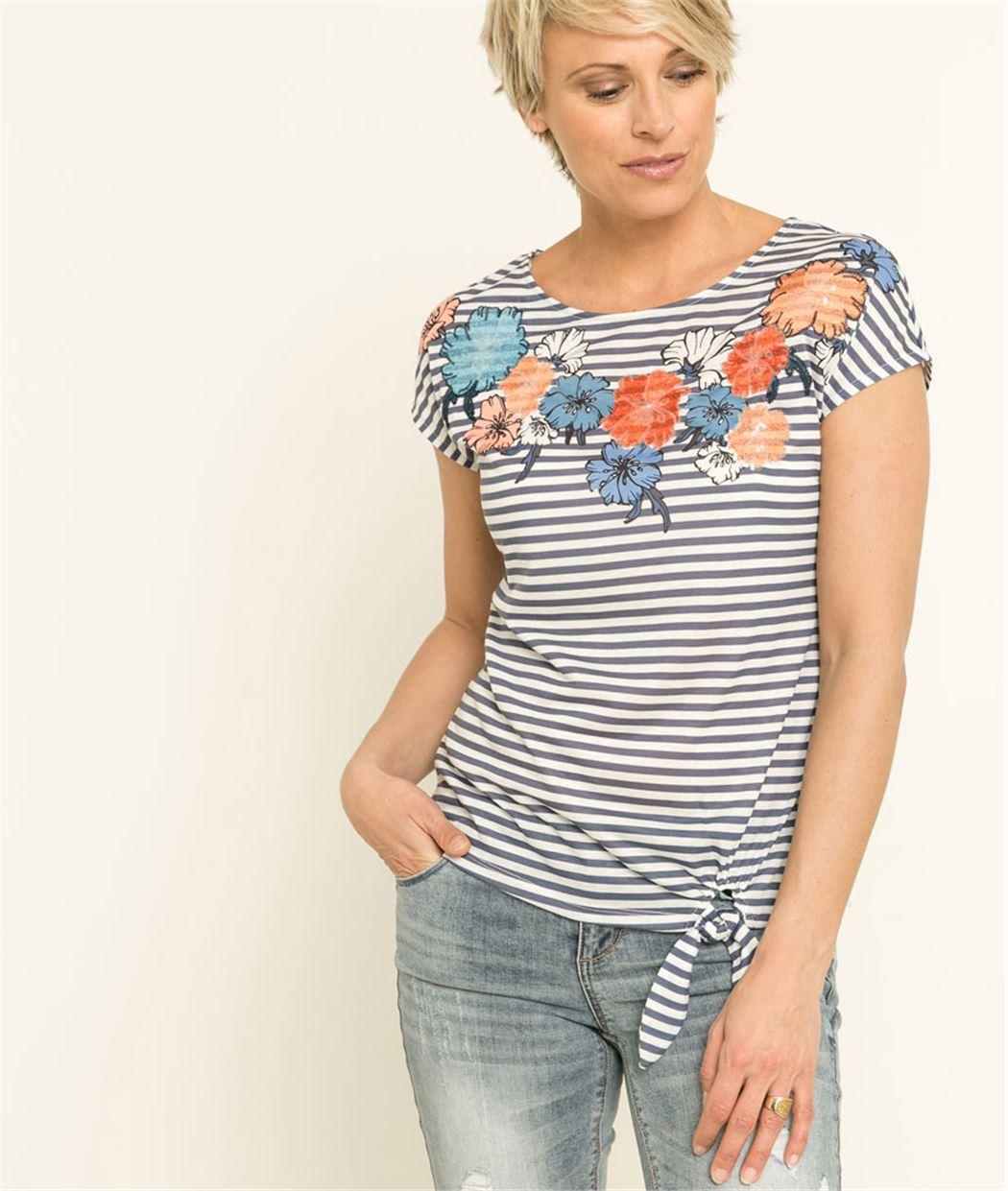 T-shirt femme fleurs et sequins BLANC