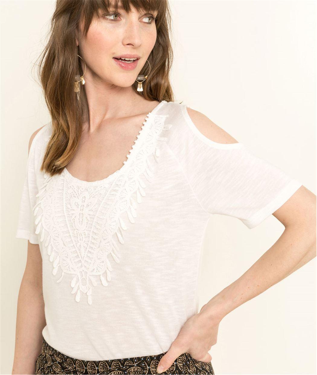 T-shirt femme manches courtes BLANC