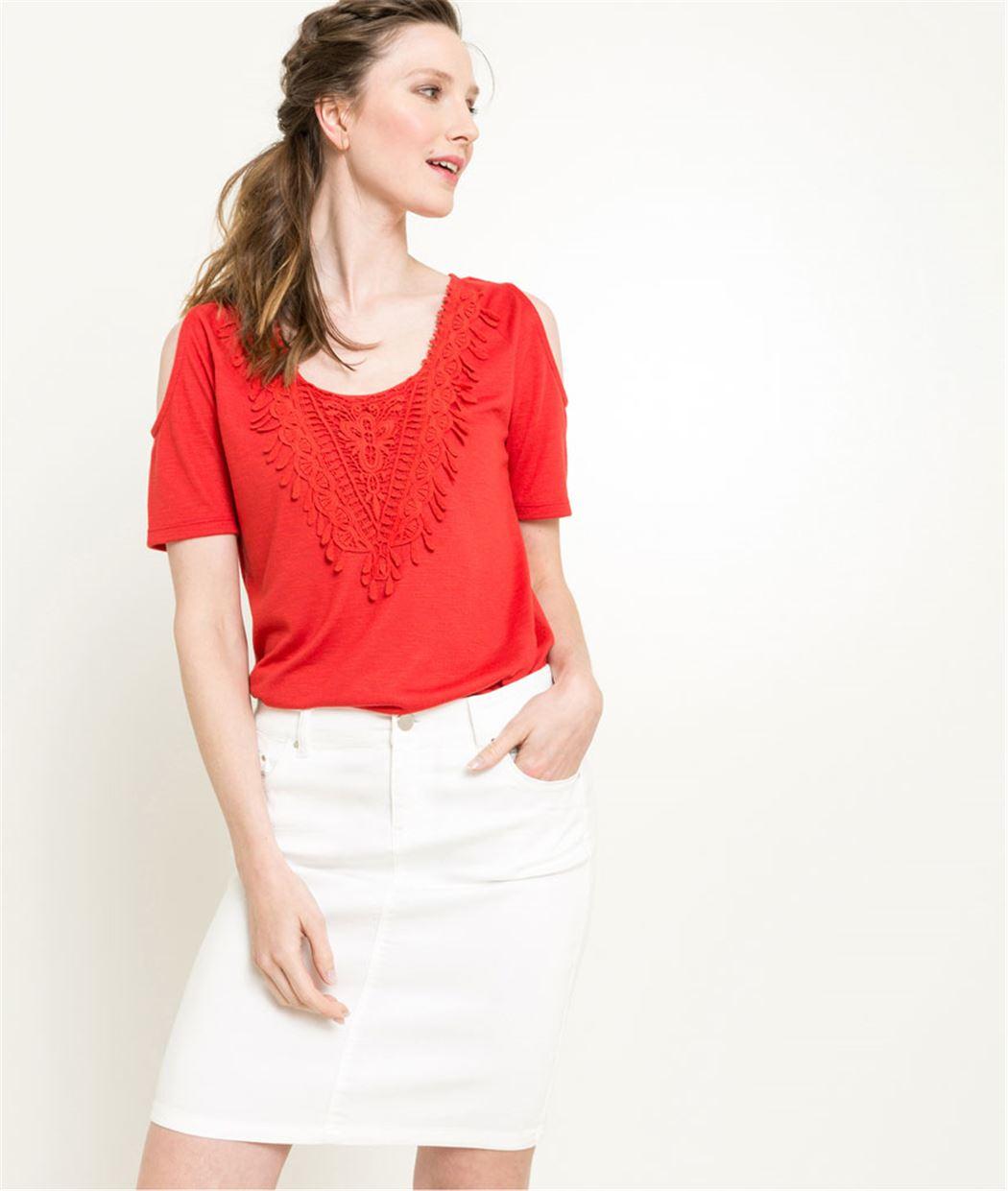 T-shirt femme manches courtes ROUGE