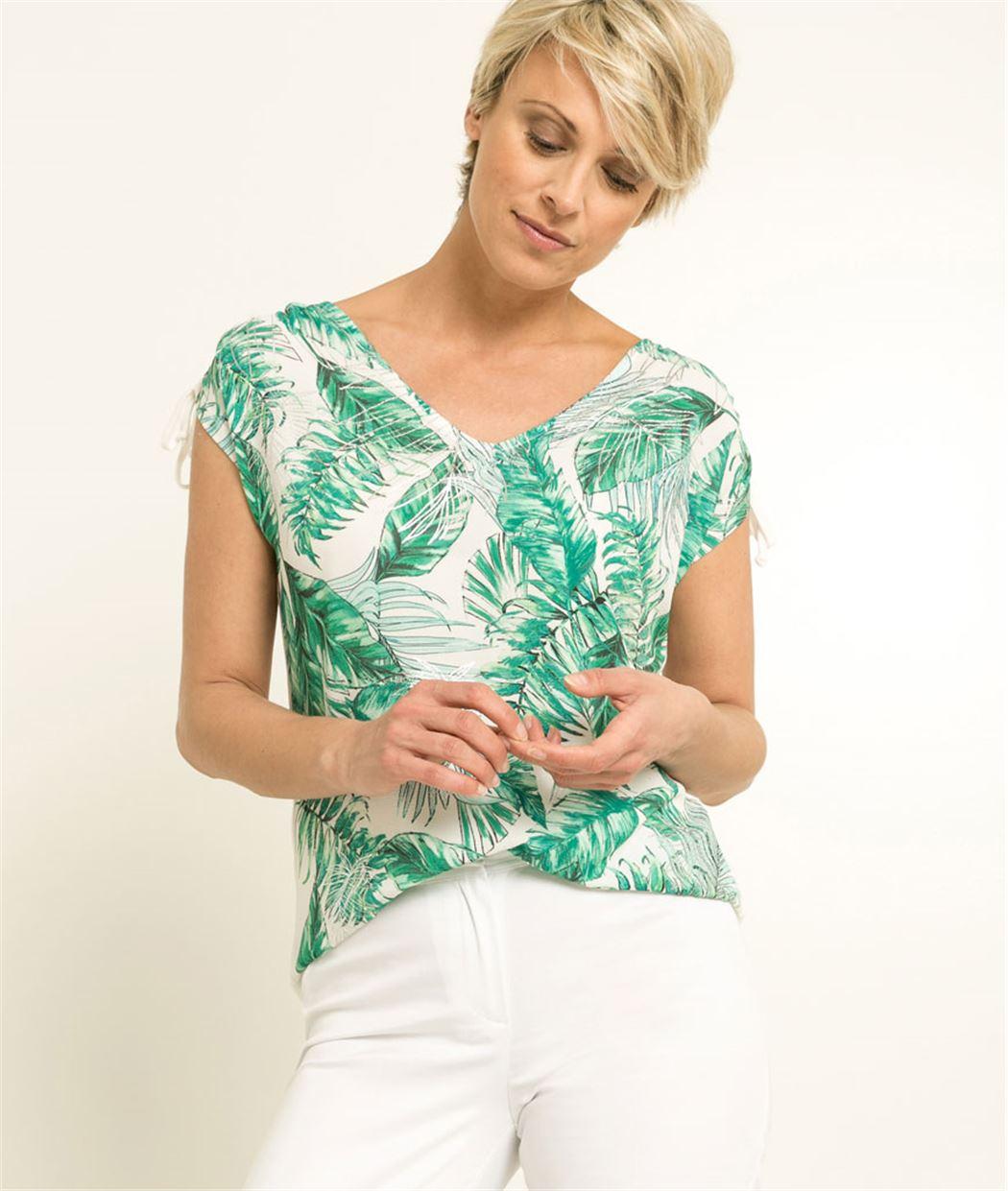 T-shirt femme imprimé tropical VERT