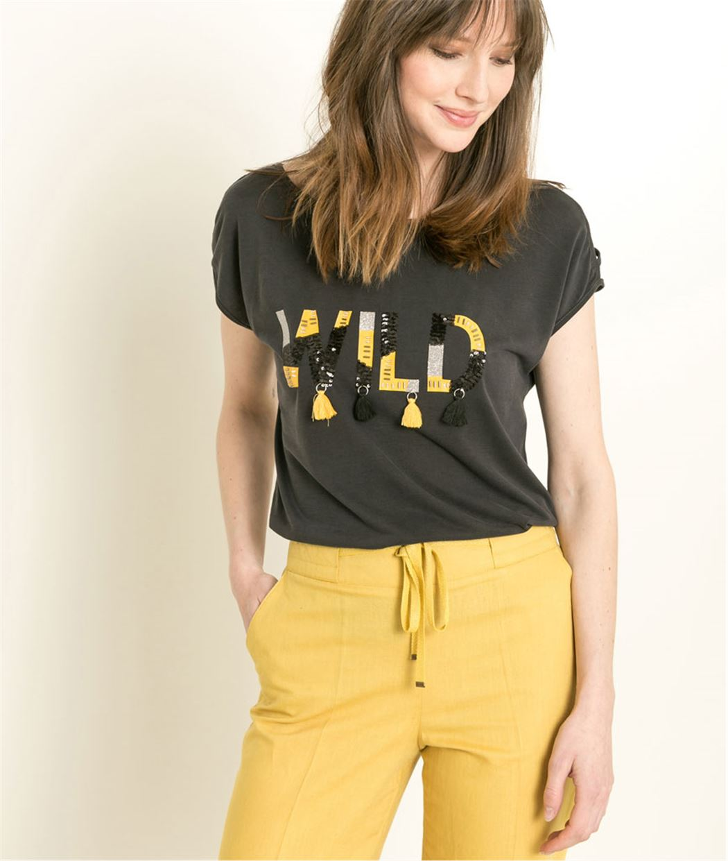 T-shirt femme épaules fantaisies ANTHRACITE