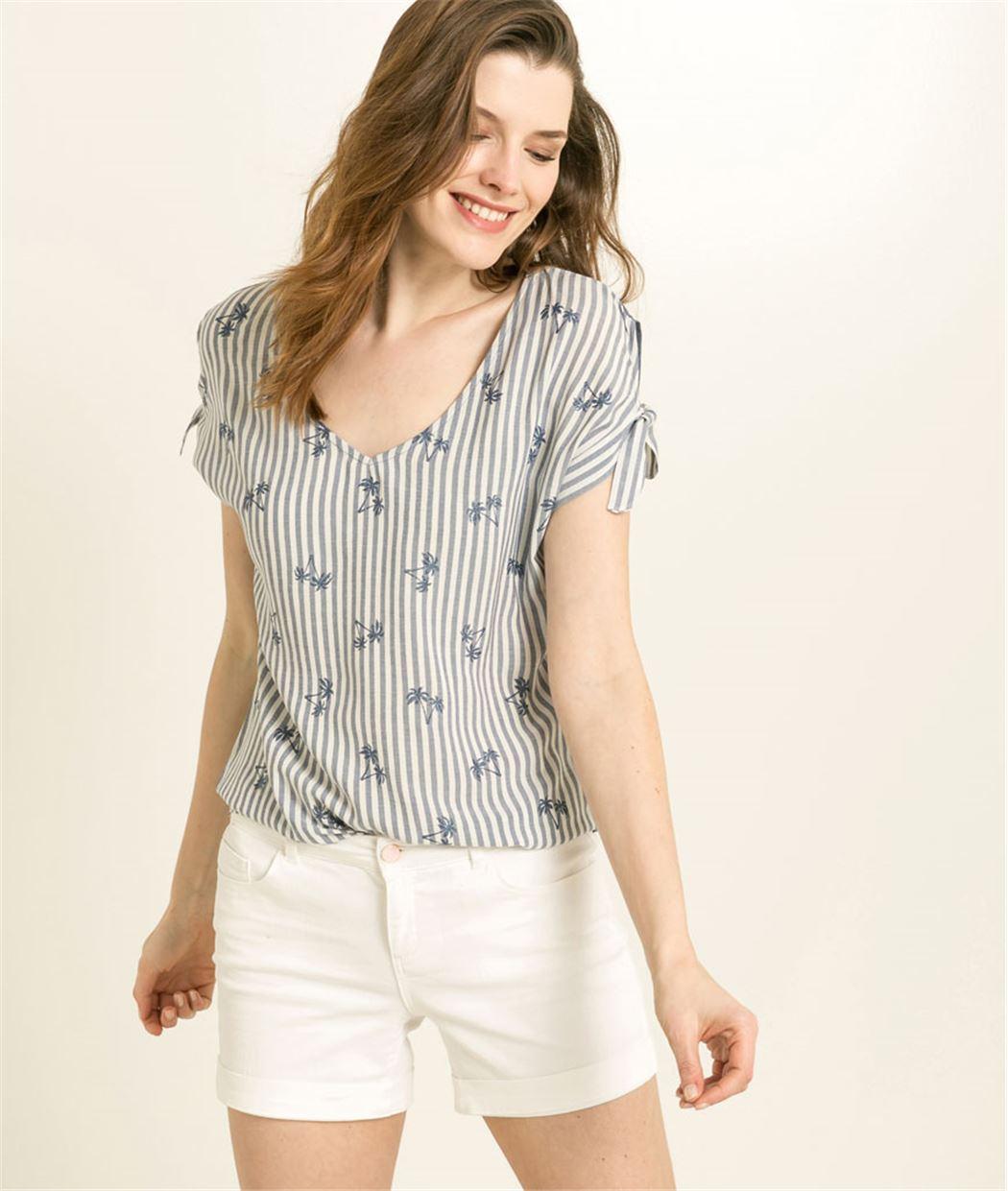 T-shirt femme manches nouées BLEU