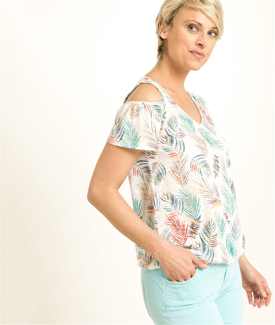 T-shirt femme imprimé palmier ECRU