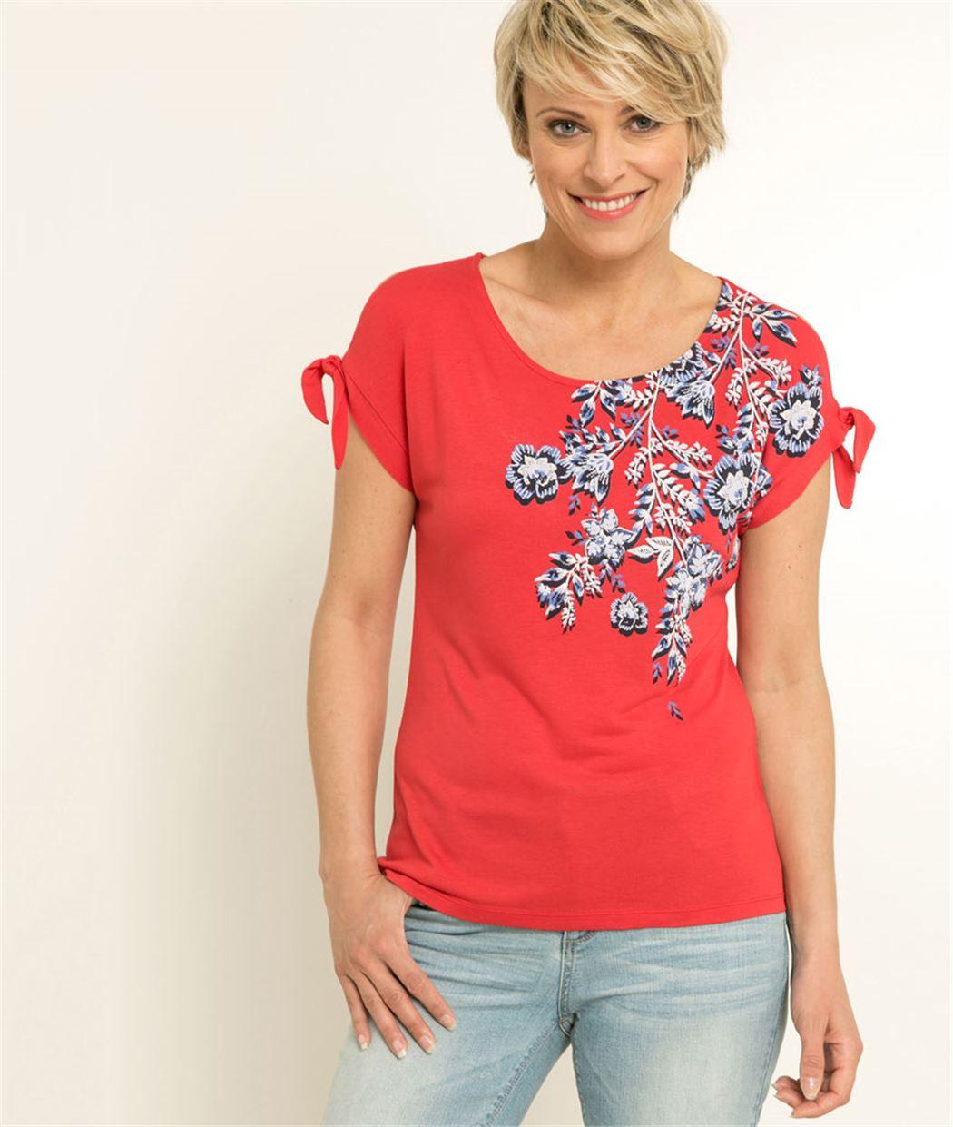 T-shirt femme imprimé motif floral ROUGE