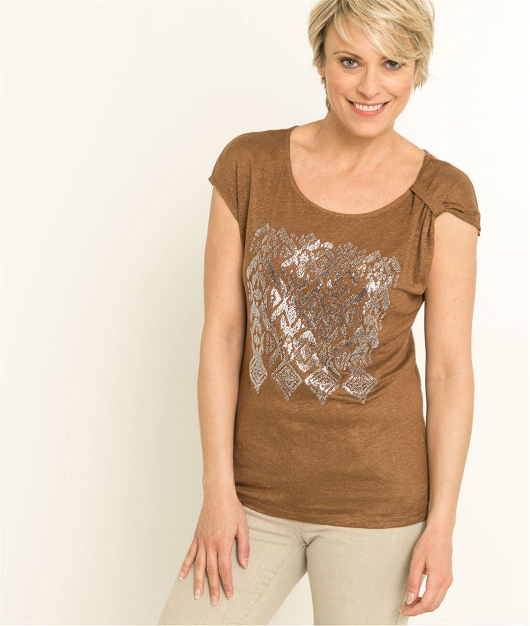 T-shirt femme imprimé MARRON