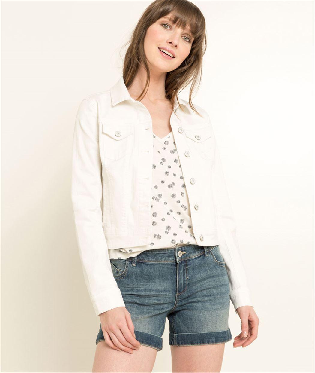 Veste femme en jean BLANC