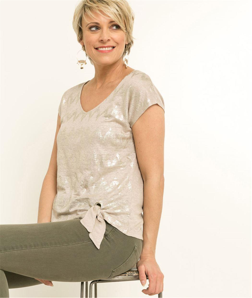 T-shirt femme imprimé motif zigzag BEIGE