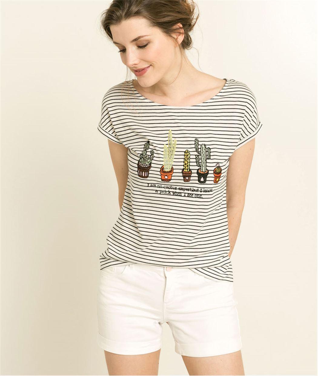 T-shirt femme rayé broderie cactus BLANC