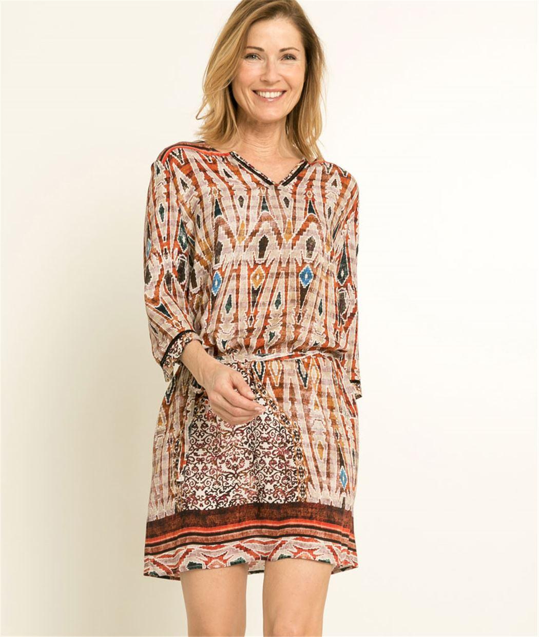 Robe femme imprimé ethnique TERRACOTA