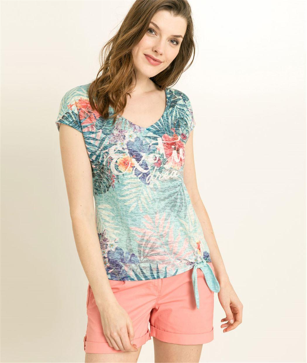 T-shirt femme imprimé exotique TURQUOISE