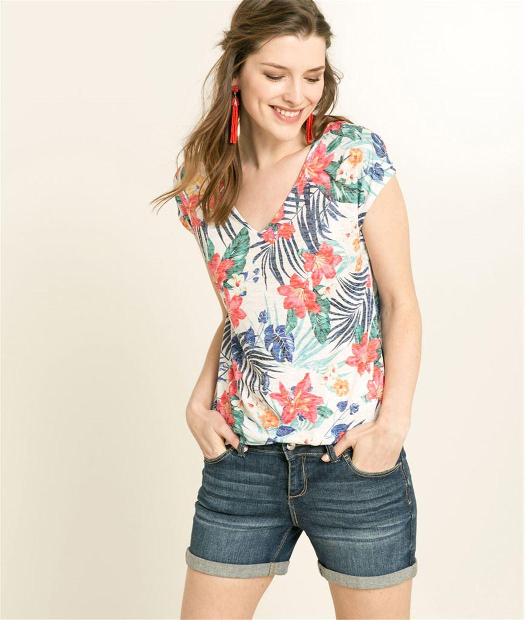 T-shirt femme imprimé tropical BLANC