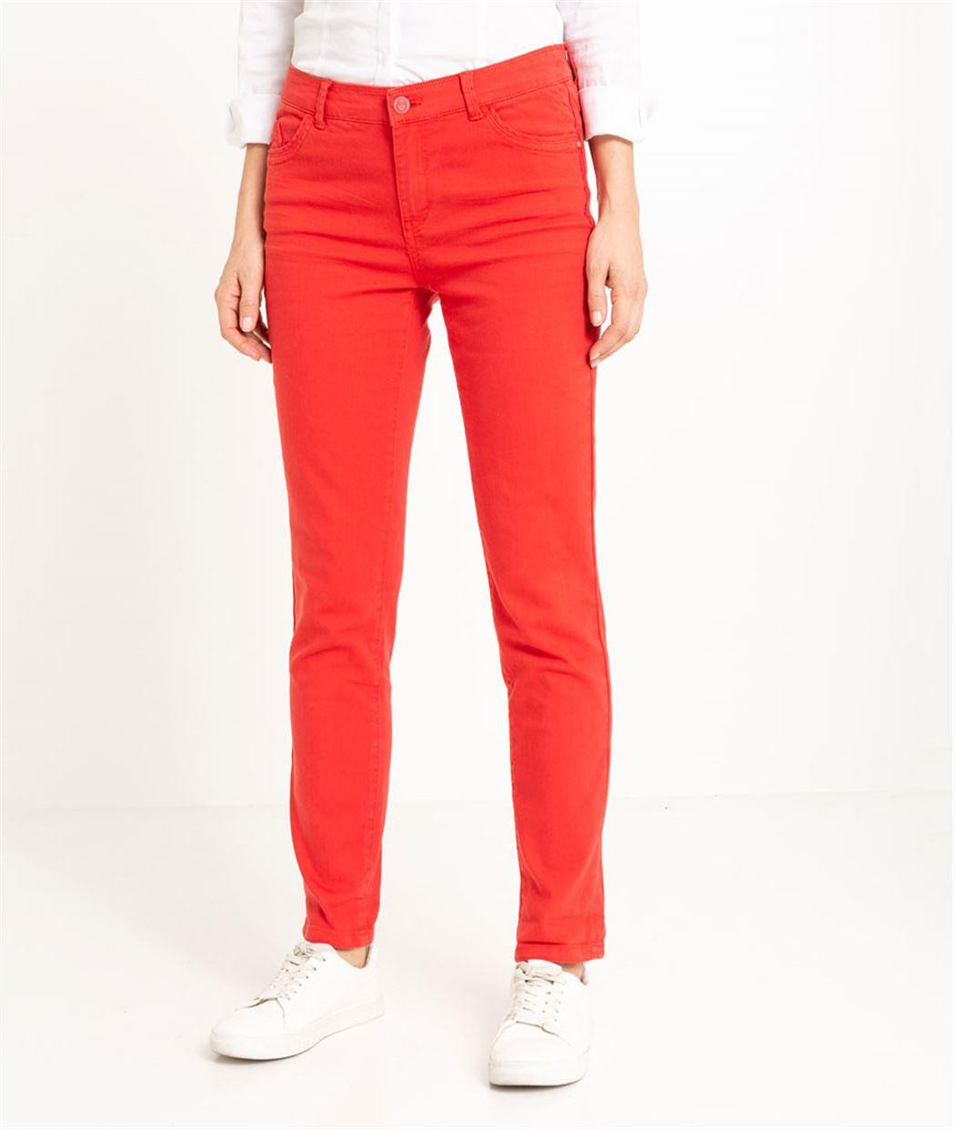 Pantalon raccourci femme couleur ROUGE