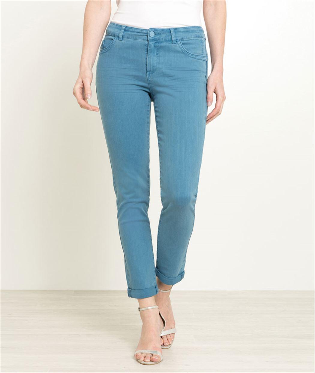Pantalon raccourci femme couleur BLEU