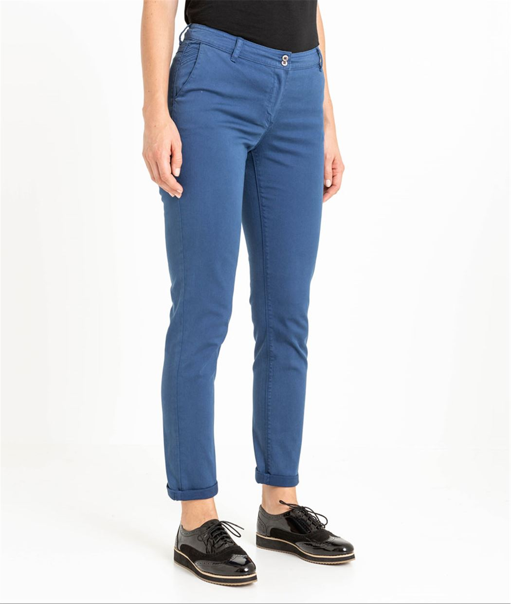 Chino femme couleur uni PRUSSE