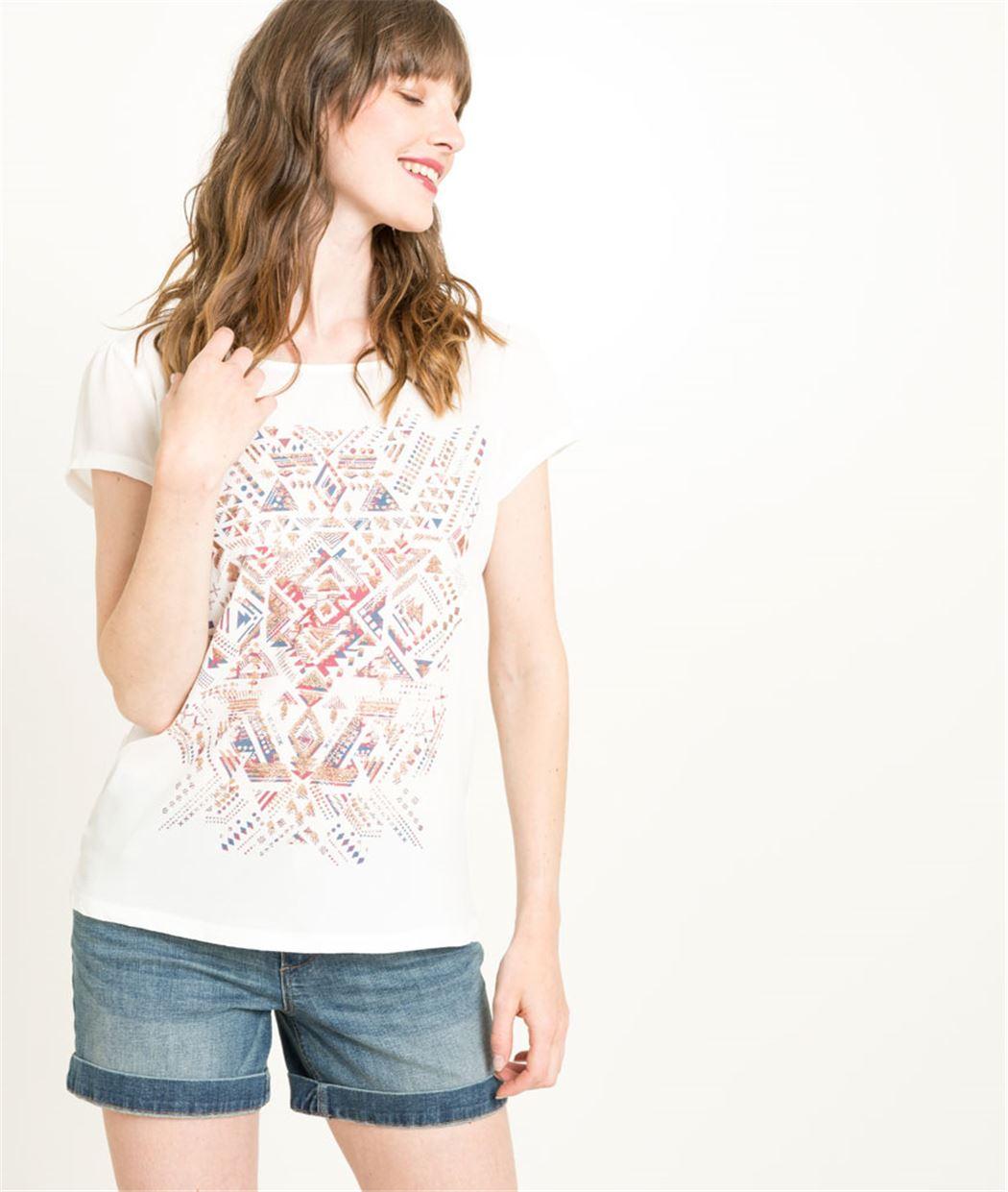T-shirt blanc femme manches courtes ECRU