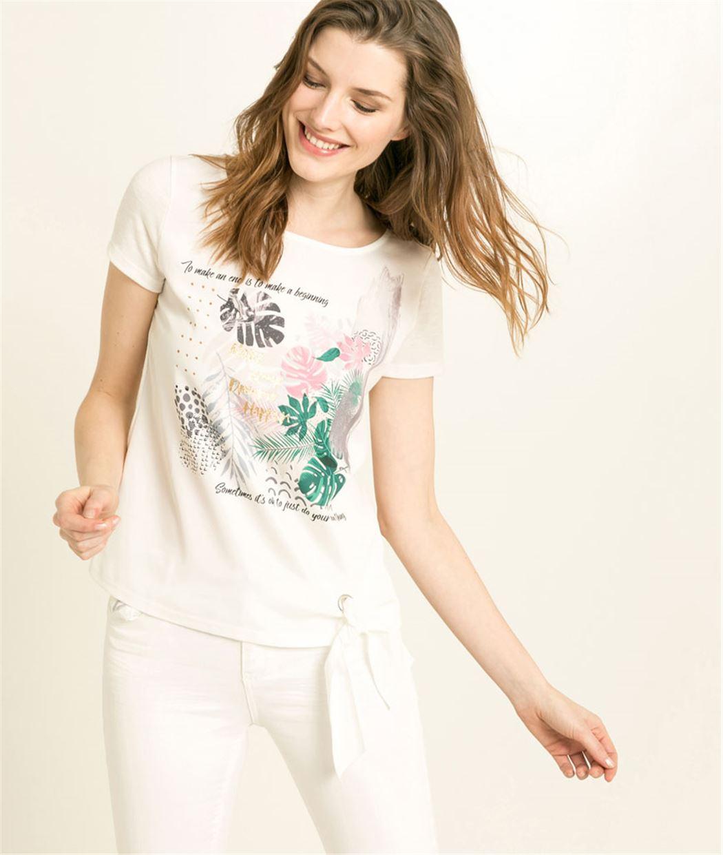 T-shirt femme imprimé bi-matière ECRU