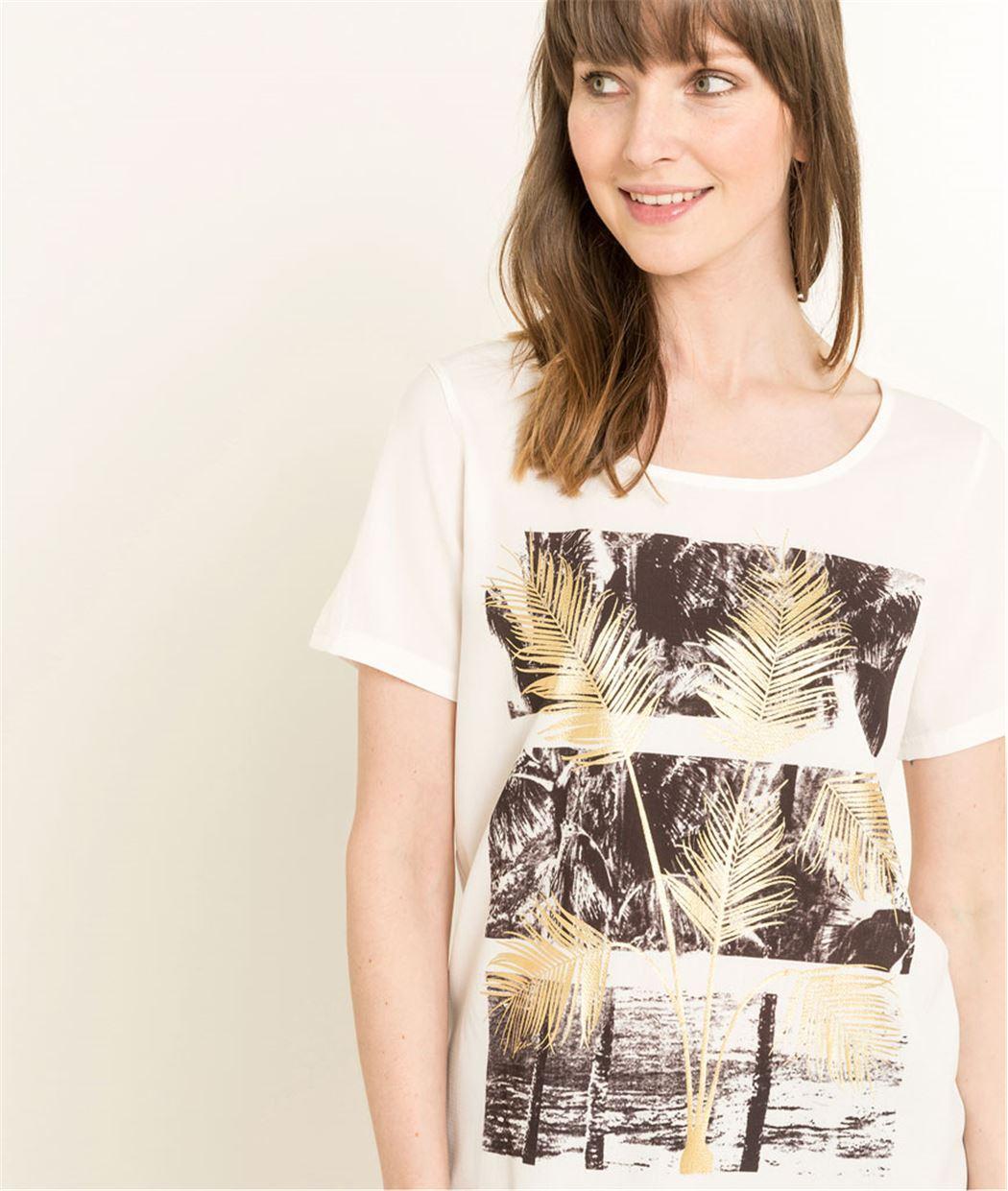 T-shirt femme bi matière ECRU