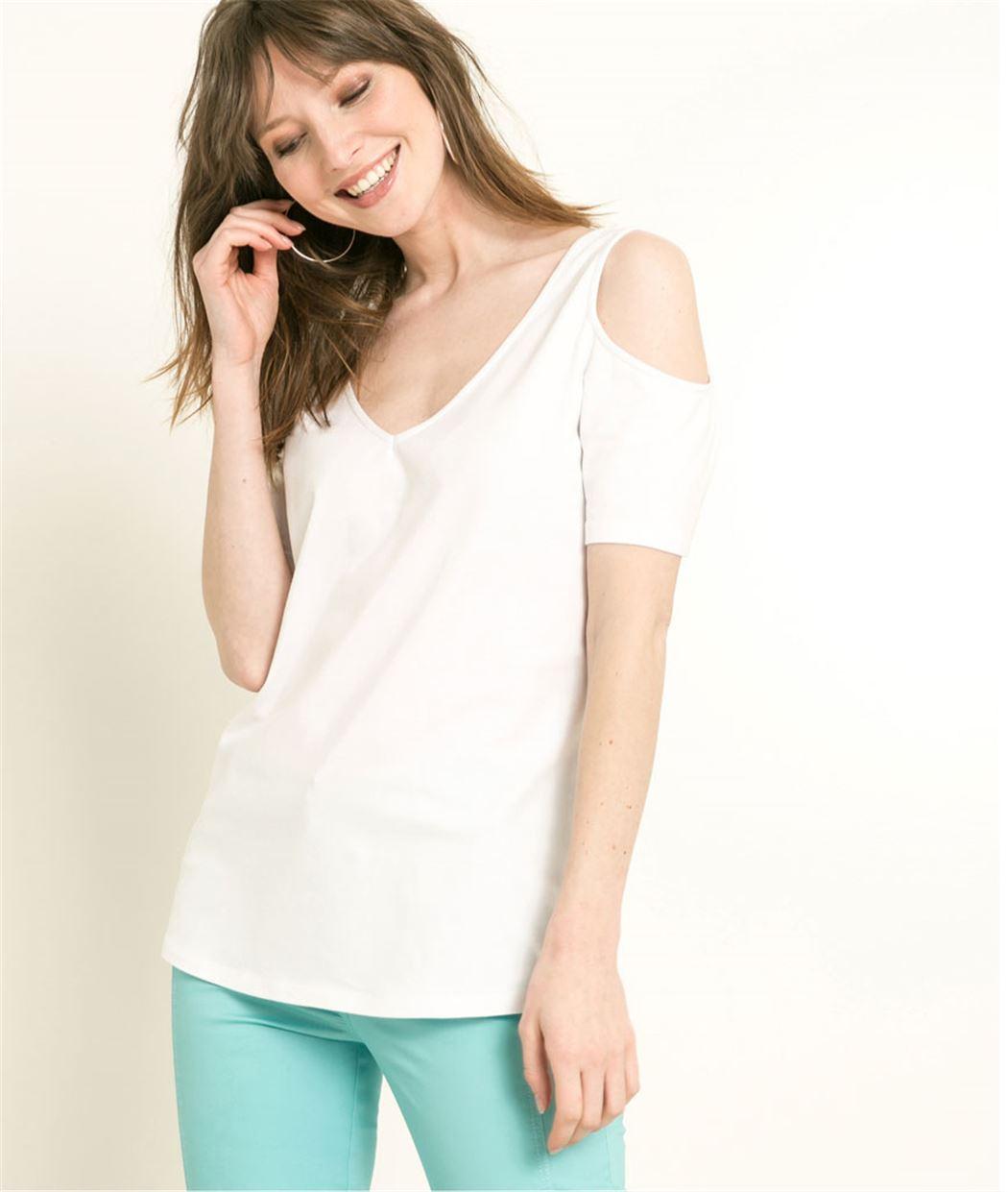 T-shirt femme épaules dénudées BLANC