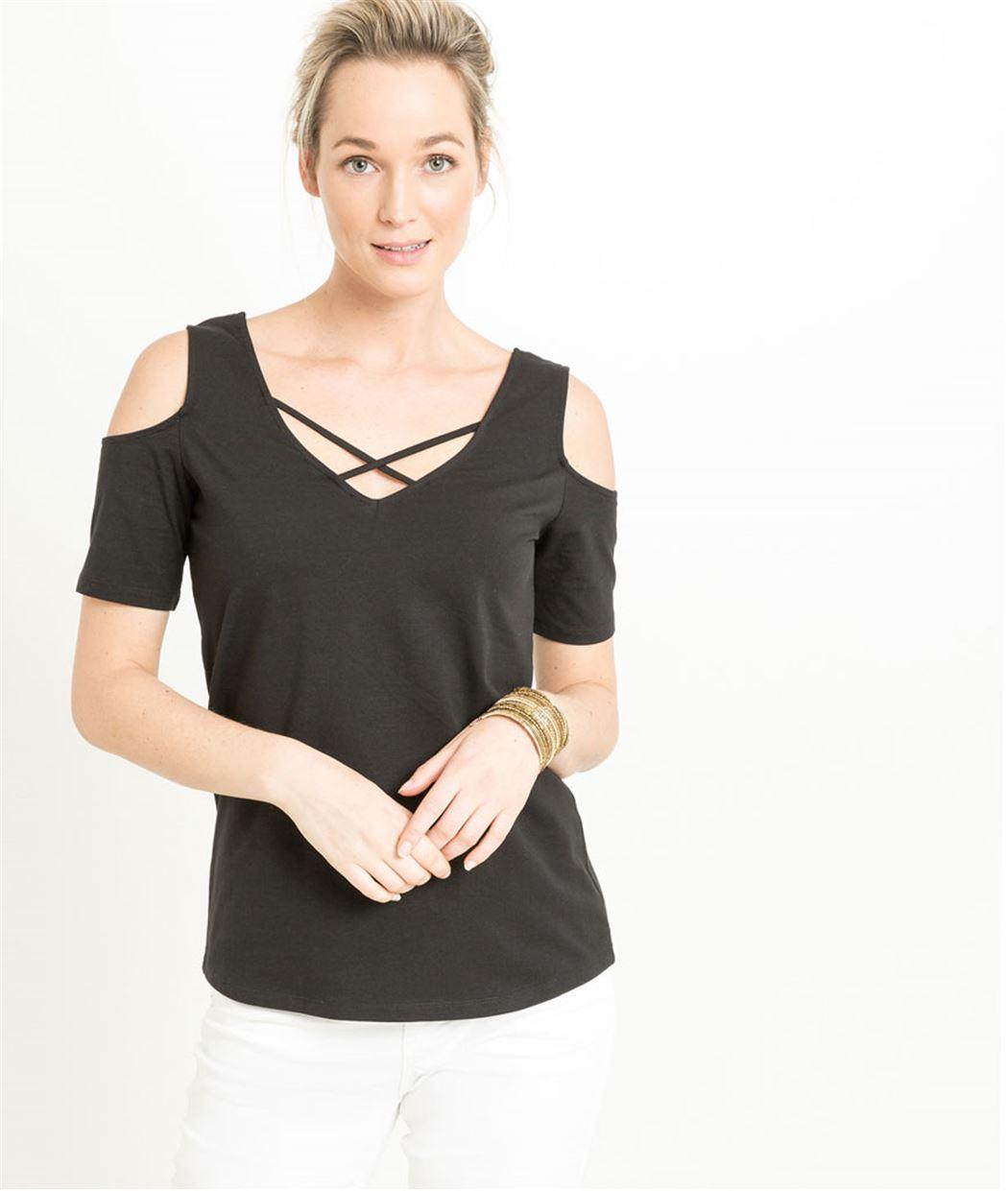 T-shirt femme épaules dénudées NOIR