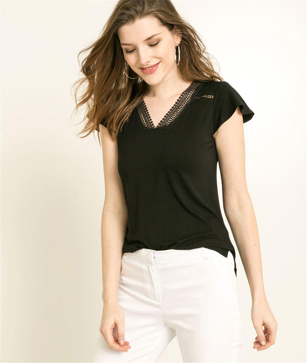 T-shirt femme avec encolure guipure NOIR