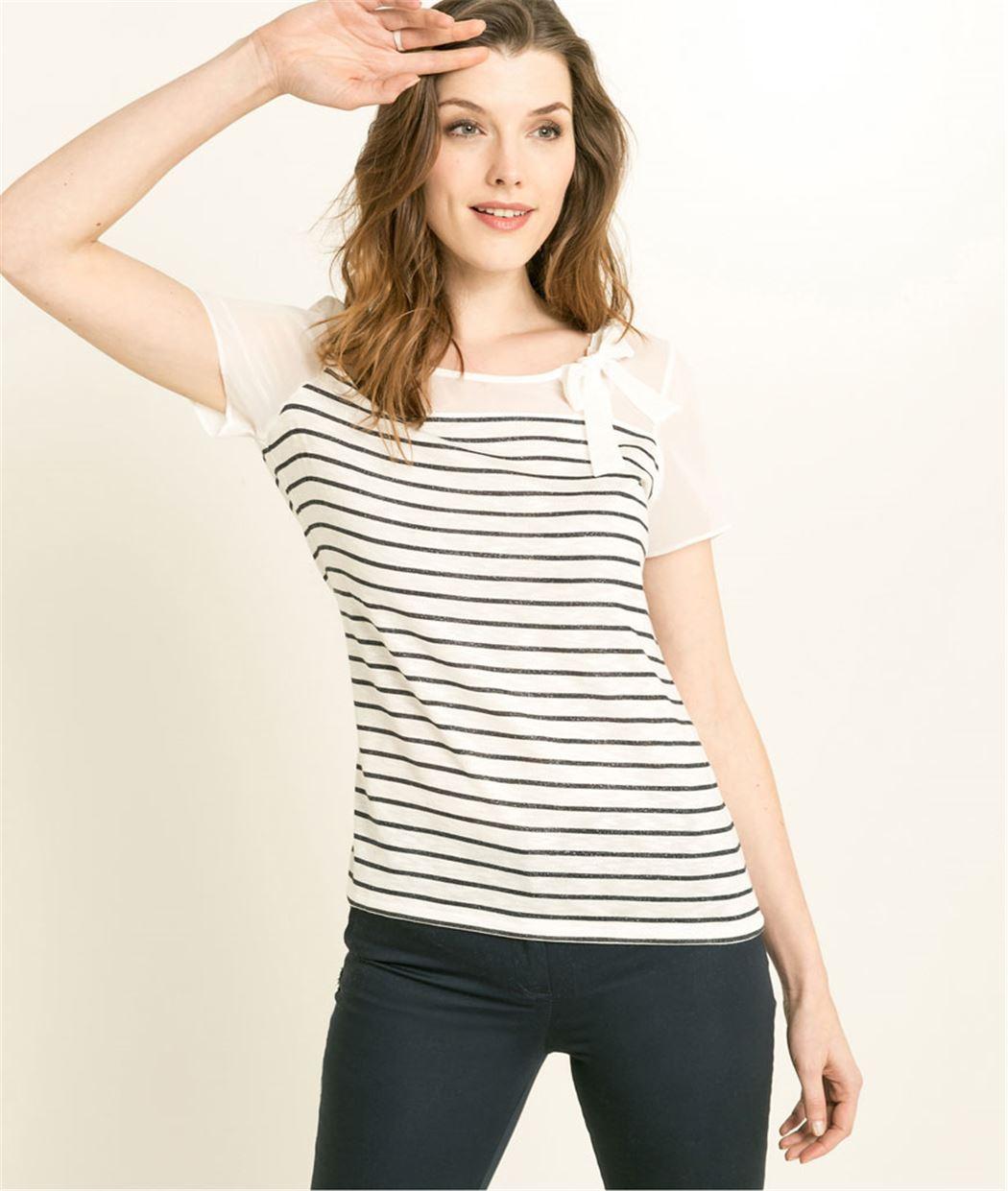 T-shirt femme à rayures ECRU