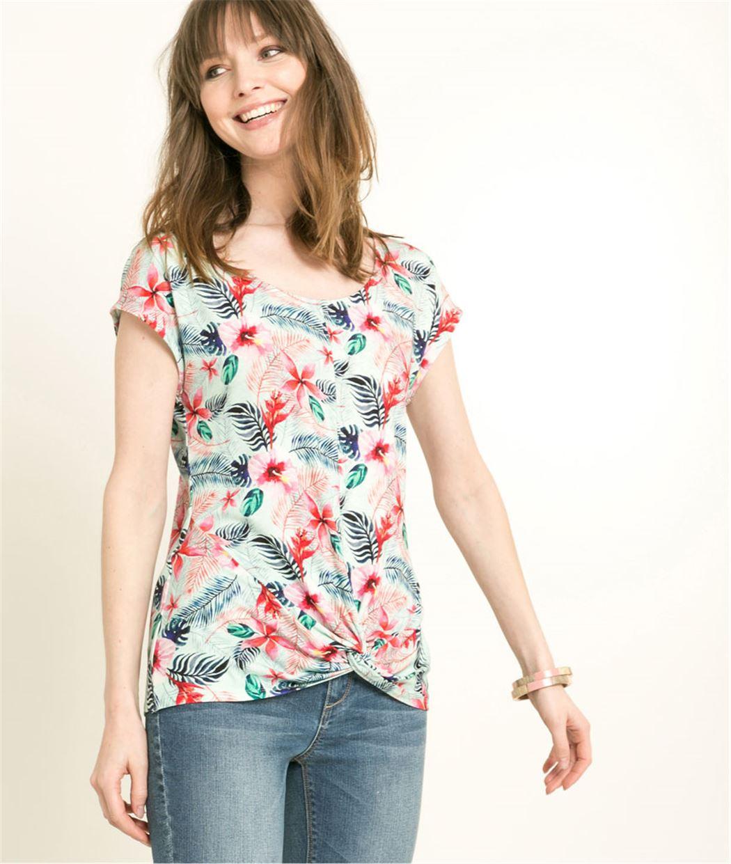 T-shirt femme imprimé fleurs tropicales MULTICOLORE