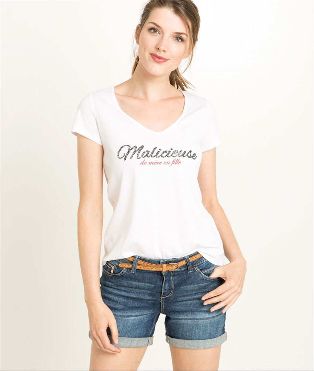 T-shirt femme blanc message malicieuse BLANC