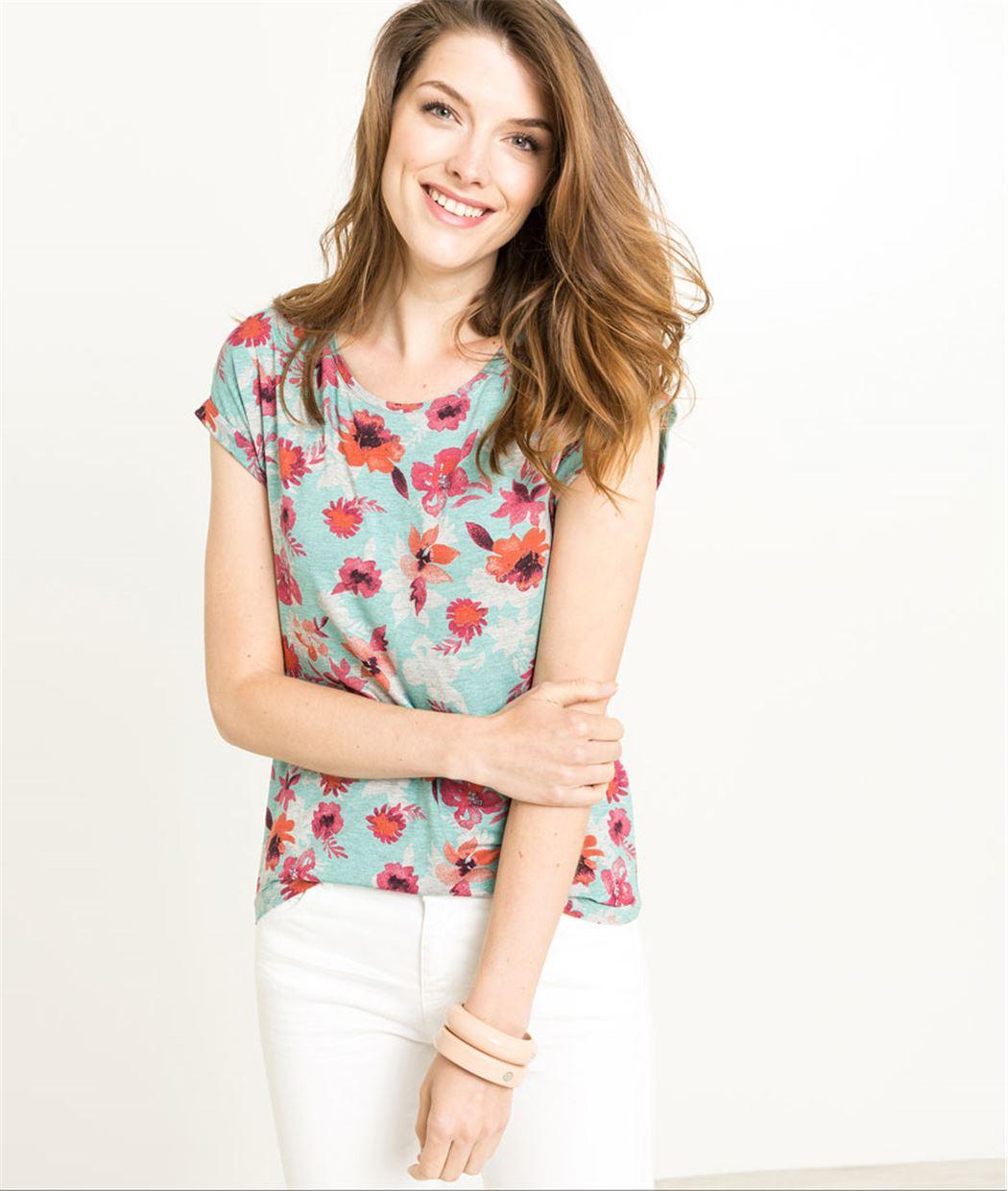 T-shirt femme imprimé fleurs GRIS