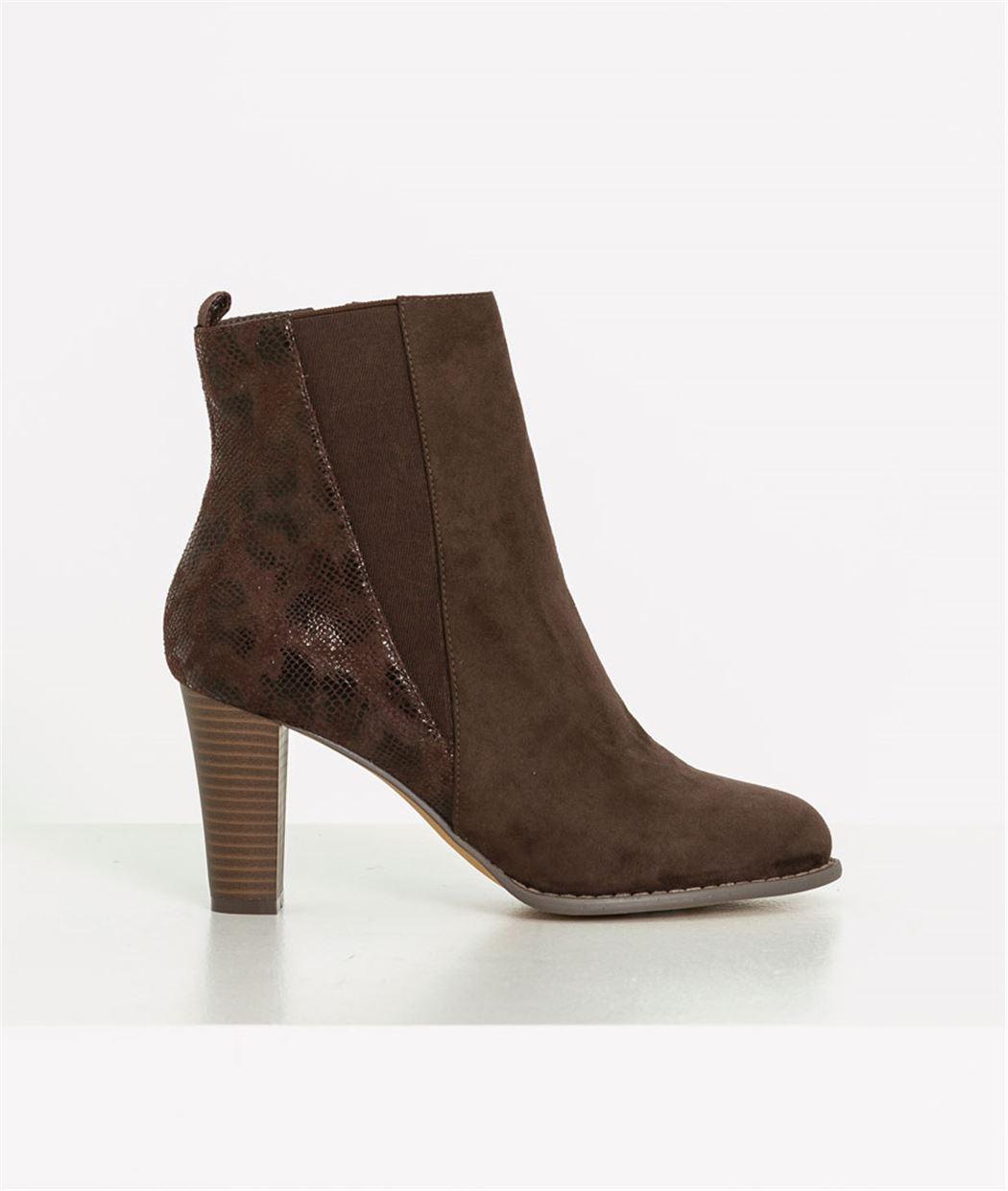 Boots femme à talon bi-matières MARRON