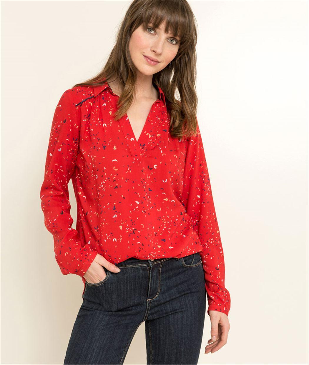 Chemise liquette femme imprimés ludiques ROUGE