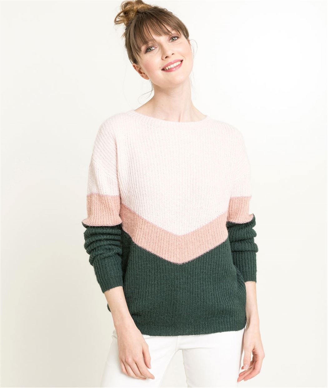 Pull femme color block et lurex ROSE