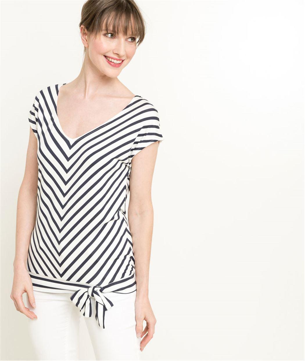 T-shirt femme à rayures et base nouée BLANC